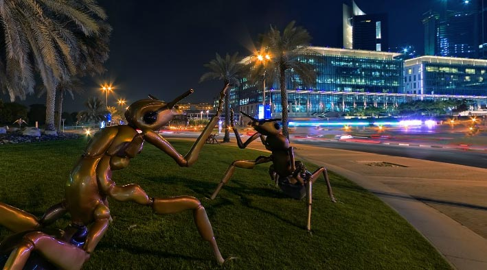 360 panorama photo in Dubai at DIFC Night & ants attack
