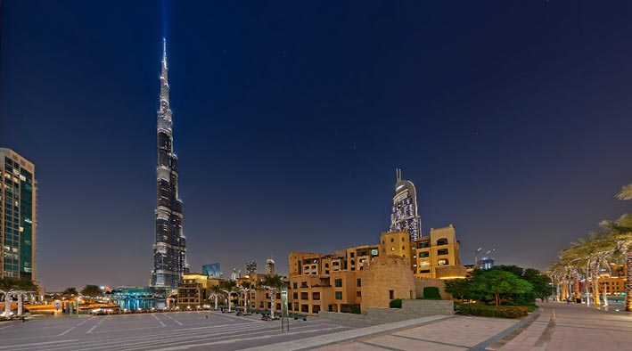 360 panorama photo in Dubai at Sheikh Mohamed Bin Rashid Boulevard - Sunset at Night