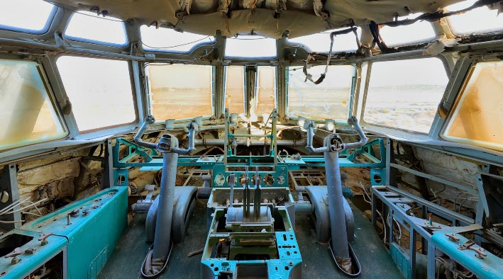 360 panorama photo in Umm Al Quwain at The Ilyushin IL-76 Cockpit