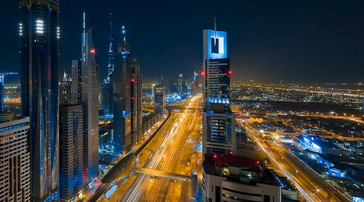 360 panorama photo in Dubai at Sheikh Zayed Road During The Night