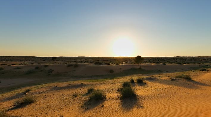 360 panorama photo inUmm Al Quwain at The Desert in The Sunset