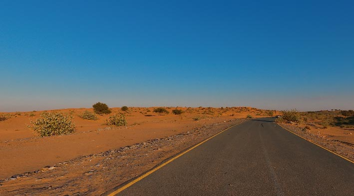 360 panorama photo inUmm Al Quwain at The Desert Road in The Sunset