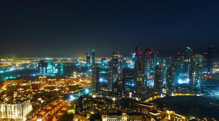 360 panorama photo inDubai at Burj Khalifa at Night
