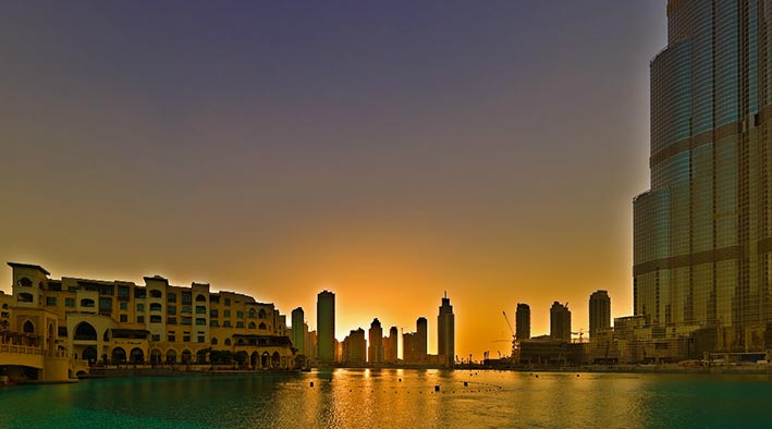 360 panorama photo in Dubai at Burj Khalifa During Sunset