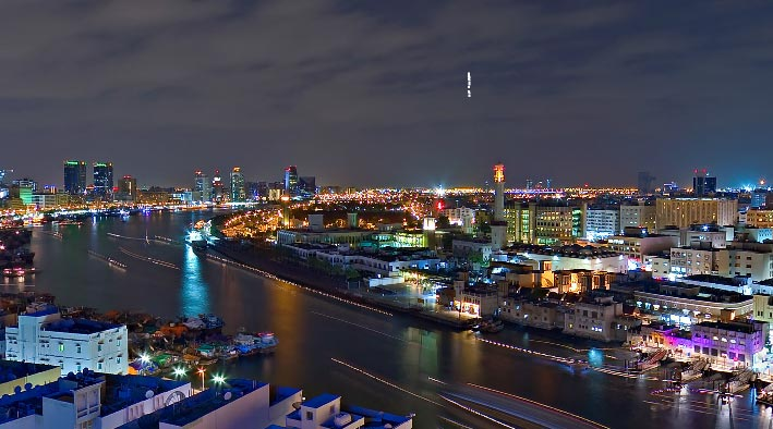 360 panorama photo in Dubai at Creek Night
