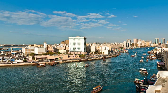 360 panorama photo in Dubai at Dubai Creek - Bird's eye view