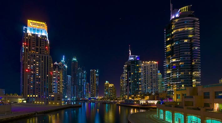 360 panorama photo in Dubai at Dubai Marina at Night