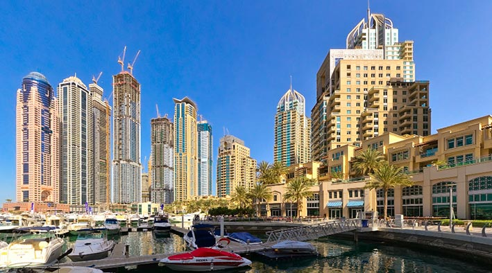 360 panorama photo in Dubai at Dubai Marina Walk