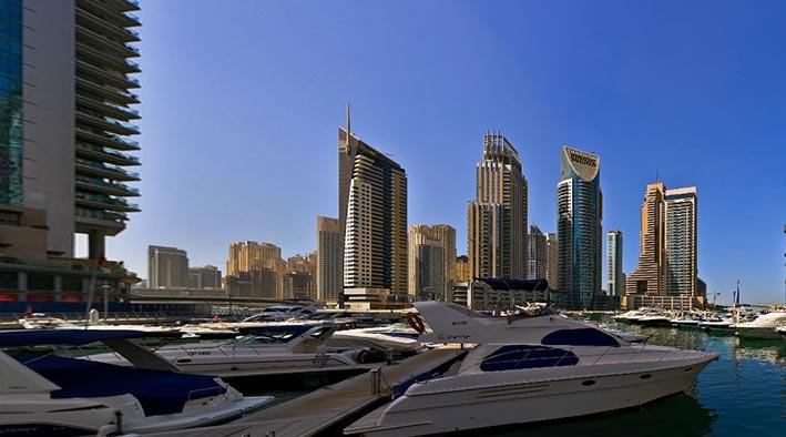 360 panorama photo inDubai at Marina Walk - Yachts