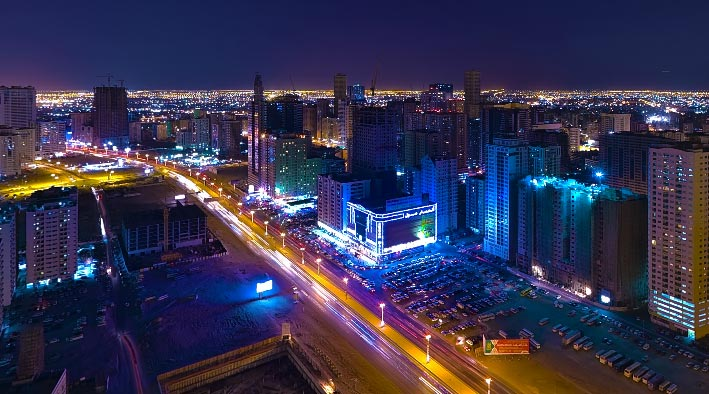360 panorama photo in Sharjah at Al Khan at Night