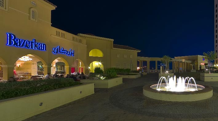 360 panorama photo inDubai at Jumeirah Beach Residence at Night