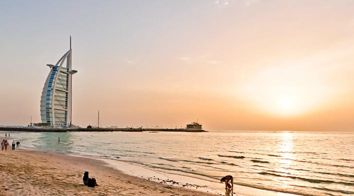 360 panorama photo in Dubai at Jumeirah Beach in The Sunset