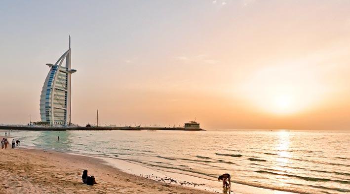 360 panorama photo inDubai at Jumeirah Beach in The Sunset