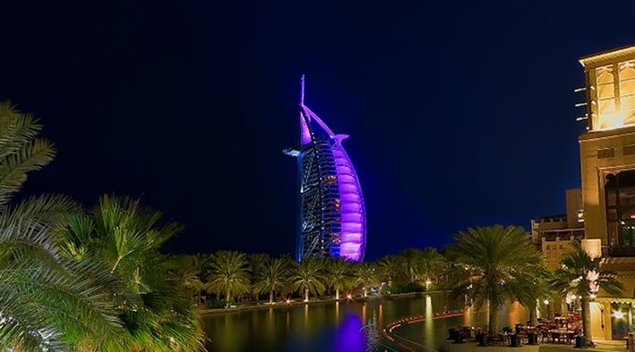 360 panorama photo inDubai at Madinat Jumeirah Night