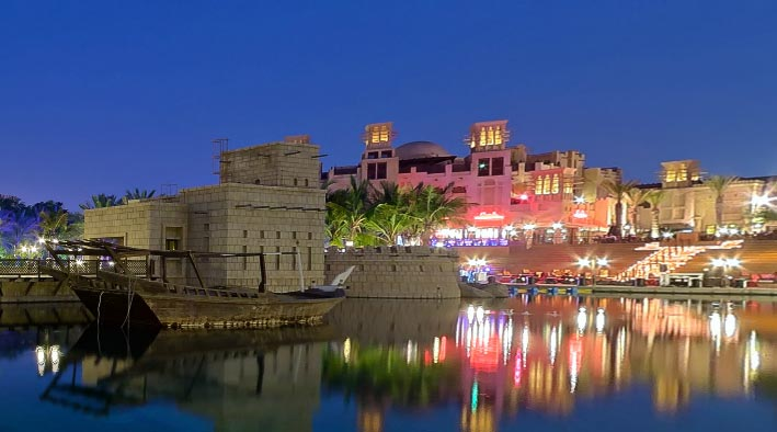 360 panorama photo in Dubai at Madinat Jumeirah Night With Peter