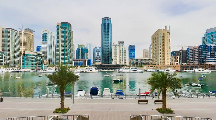 360 panorama photo in Dubai at Marina Promenade