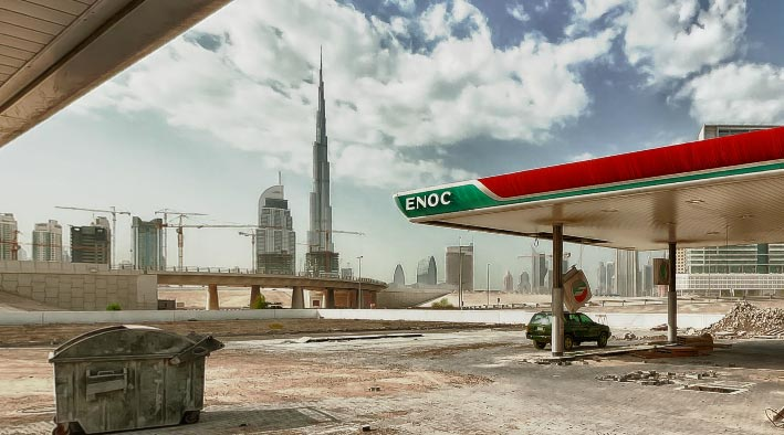 360 panorama photo in Dubai at The Surreal Petrol Station - Burj Khalifa